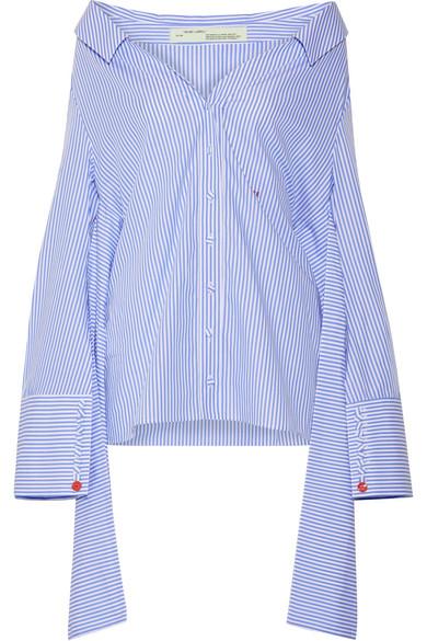 Off-the-shoulder striped cotton-poplin shirt