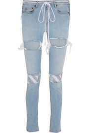 Off-White Embroidered distressed mid-rise skinny jeans
