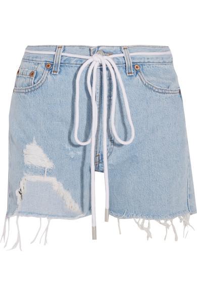 Off-White | Distressed denim shorts | NET-A-PORTER.COM