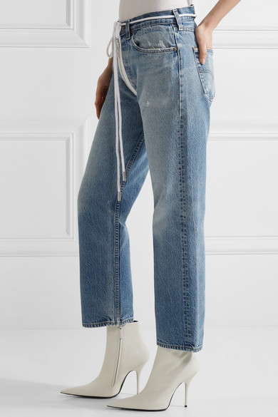 Off-White | Distressed cropped boyfriend jeans | NET-A-PORTER.COM