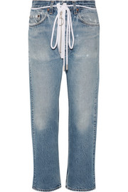 Off-White Distressed cropped boyfriend jeans