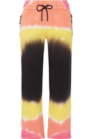 Printed tie-dyed French cotton-terry track pants