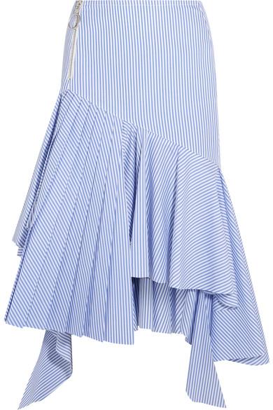 Off-White - Ruffled Striped Cotton Midi Skirt - Light blue