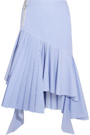 Ruffled striped cotton midi skirt