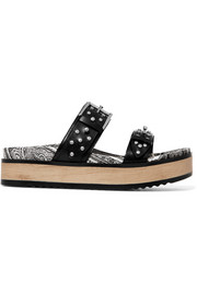 Studded leather platform slides