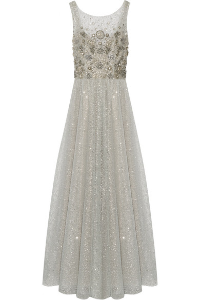 Marchesa Notte - Embellished Tulle Gown - Silver