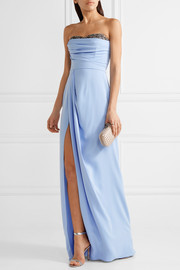 Strapless bead-embellished crepe gown