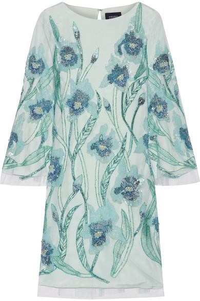 Marchesa Notte - Embellished Tulle Mini Dress - Mint