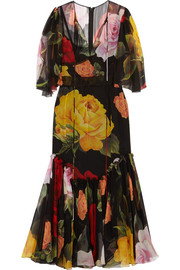 Floral-print silk-chiffon midi dress