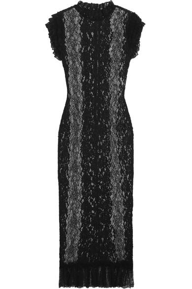 Dolce & Gabbana - Ruffled Stretch-lace Midi Dress - Black