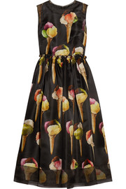 Dolce & Gabbana Embellished printed silk-organza midi dress