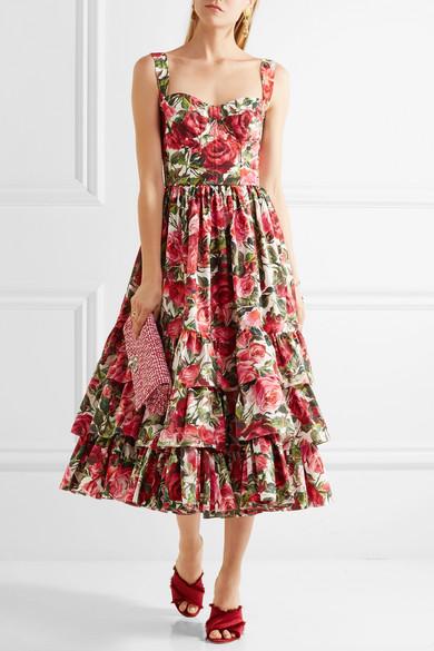 b5ce2efd Dolce & Gabbana | Ruffled floral-print cotton-poplin dress | NET-A ...