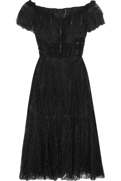 Dolce & Gabbana - Off-the-shoulder Ruffled Lace Midi Dress - Black
