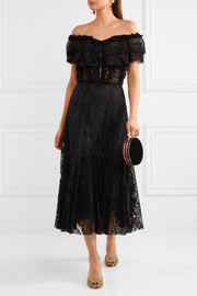 Dolce & Gabbana Off-the-shoulder ruffled lace midi dress