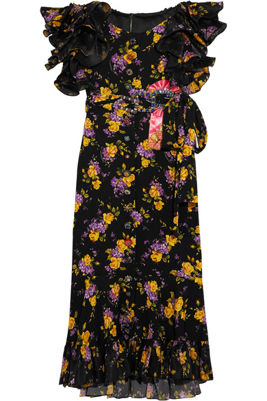 Dolce & Gabbana - Embellished Ruffled Printed Silk-blend Charmeuse Midi Dress - Black