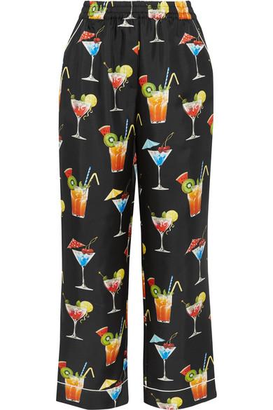Dolce & Gabbana - Printed Silk-twill Pants - Black