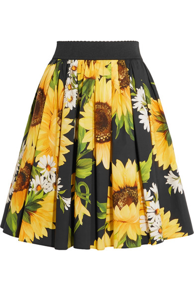Dolce & Gabbana - Printed Cotton-poplin Skirt - Yellow