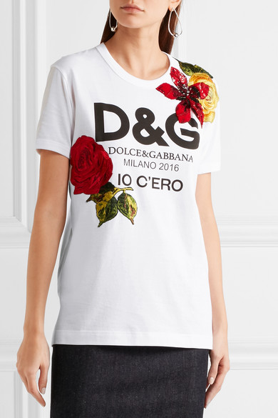 Dolce gabbana embellished printed cotton jersey t for Dolce and gabbana printed t shirts