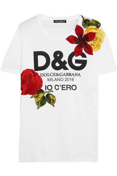 replica D&G Tshirt Woman Dolce Gabbana Printed slogan embroidered flowers paillette