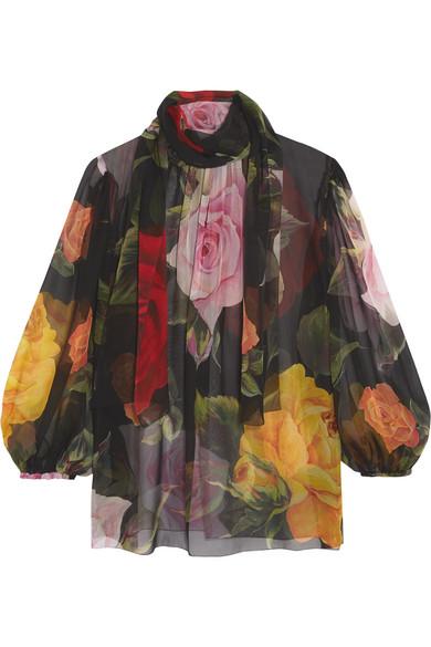 Dolce & Gabbana - Pussy-bow Floral-print Silk-chiffon Blouse - Black