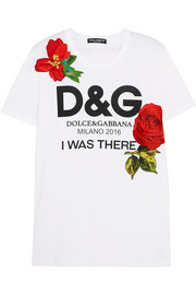 Dolce & Gabbana Appliquéd printed cotton-jersey T-shirt