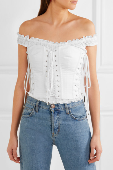 f37a34250f095 Off-the-shoulder lace-up cotton-poplin bustier top