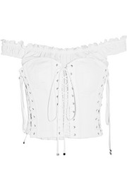 Off-the-shoulder lace-up cotton-poplin bustier top