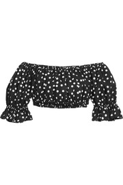 Dolce & Gabbana Off-the-shoulder cropped polka-dot cotton top