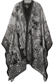 Reversible jacquard-knit cape