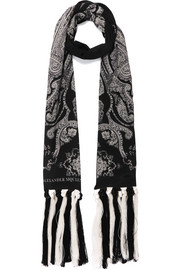 Alexander McQueen Fringed paisley-print silk-crepe scarf