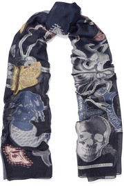 Alexander McQueen Mermaid Sea metallic fil coupé georgette scarf