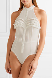 Ruffled silk-crepe and jersey bodysuit