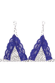 Charlotte polka-dot satin and lace soft-cup triangle bra