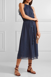 Ruffled fil coupé crepon midi dress