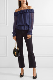 Off-the-shoulder ruffled fil coupé crepon top