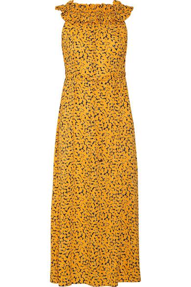 MICHAEL Michael Kors - Belted Printed Stretch-crepe Midi Dress - Saffron