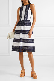 Striped broderie anglaise cotton dress