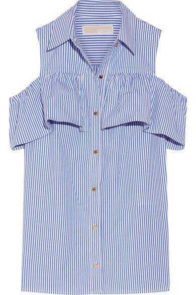 2c3fccefc41fc2 MICHAEL Michael Kors. Cold-shoulder striped stretch-cotton blouse