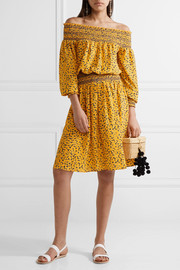 Finley off-the-shoulder printed stretch-crepe dress
