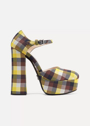Checked canvas platform pumps