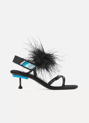 Feather-embellished satin sandals