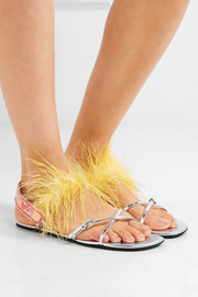 Feather-embellished metallic leather sandals