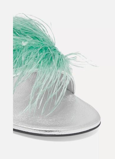 Prada Slippers Feather-embellished metallic textured-leather slides