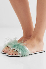 Feather-embellished metallic textured-leather slides