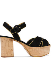 Prada Metallic leather-trimmed suede platform sandals
