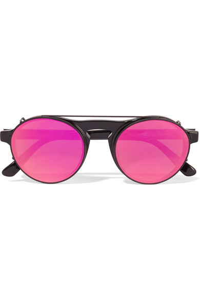 Westward Leaning - Round-frame Acetate Sunglasses With Clip-on Lenses - Black