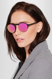 Round-frame acetate sunglasses with clip-on lenses