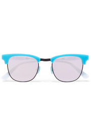 Vanguard 21 square-frame acetate and gunmetal-tone mirrored sunglasses