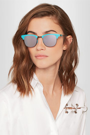 Westward Leaning Vanguard 21 square-frame acetate and gunmetal-tone mirrored sunglasses