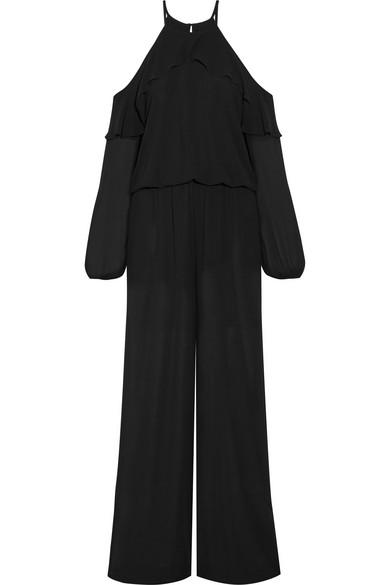 MICHAEL Michael Kors - Cold-shoulder Ruffle-trimmed Chiffon Jumpsuit - Black
